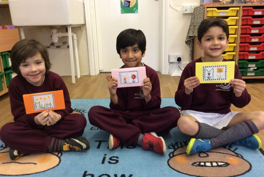 2B boys sew a  very special Mother's Day card