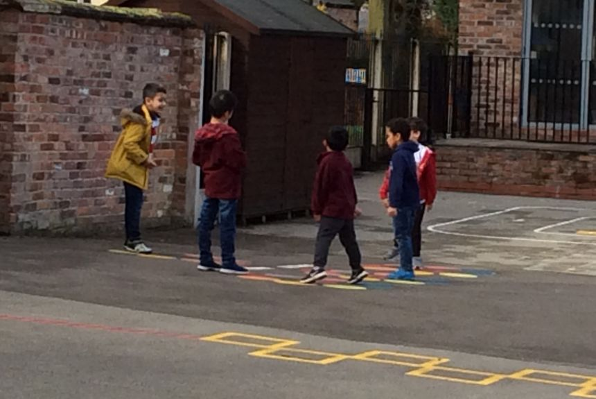 Highbury boys enjoying the new playground markings