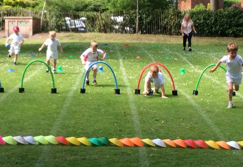 Reception Sports Day practice, what amazing weather!