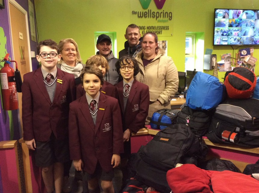APS boys fill rucksacks for the homeless
